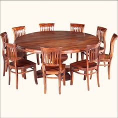 Rustic Solid Wood Large Round Dining Table & Chair Set