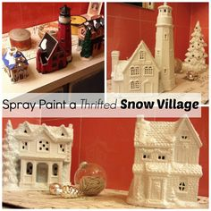 Spray Paint Mismatched Snow Village Buildings and Dust with Mica Snow http://organizedclutterqueen.blogspot.com