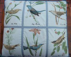 Vintage Pillow. Bird Throw Pillow.3 D. Blue Pillow.Nature.Birds.Wildlife..Retro Pillows.Vintage Decor