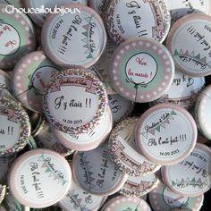 Badges Mariage Personnalisés - Retro, Menthe à l'eau & Liberty - Création sur mesure : Pins, badges par choucailloubijoux
