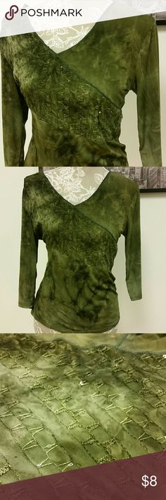 """Green Top Only 9 size medium elbow sleeve top. 23.5"""" long, 19"""" flat bust. 92% polyester 8% spandex. Great used condition. Only 9 Tops Tees - Short Sleeve"""