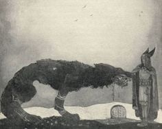 John Bauer-Tyr and Fenrir - Canis lupus - Wikimedia Commons. Artist John Bauer Link back to Creator infobox template Description Tyr and Fenrir in for Our Fathers' Godsaga by Viktor Rydberg Date 1911 (domaine public) John Bauer, Fenrir Tattoo, Eslava, Asgard, Art Of Manliness, Old Norse, Norse Vikings, Fairytale Art, Viking Age