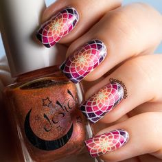 Mosaic nail art using an image from Uberchic beauty 4-03. Decals were made using…
