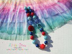Flower Peace Bubblegum Necklace in Blue and by LittleDivaBubblegum, $23.00