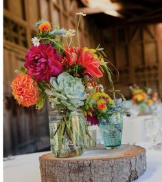 Succulent Centrepieces with wood. Found via NEST Vintage & Handmade blog.