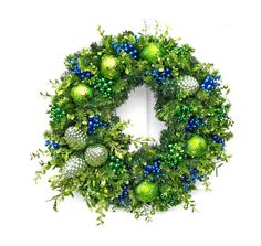 Glittered Green and Blue Christmas Wreath / Pine Cone Wreath / Christmas Decor / Holiday Wreath / Holiday Decor / Front Door Wreath