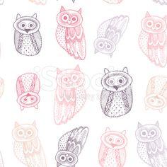 Decorative Hand dravn Cute Owl Sketch Doodle Pink purple outline royalty-free stock vector art