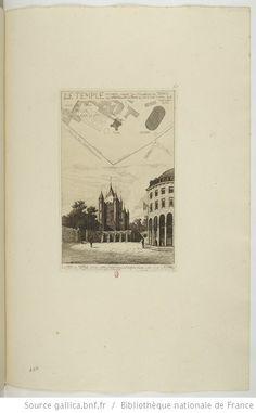 La Tour du Temple, construite en 1200 par Hubert, trésorier des Templiers, détruite en 1811 : A droite, la Rotonde, d'après une gravure faite en 1792 pendant la captivité de Louis XVI : [estampe] / APM [Potémont] - 1