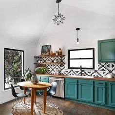 Black and white kitchen back splash, open shelves, teal kitchen cabinets, eclectic kitchen.