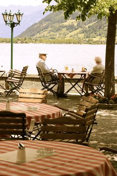 Zell am See, Austria - Remember sitting at this cafe on the lake with us and Kristin. Salzburg, Zell Am See, Old Couples, Lasting Love, Outdoor Furniture Sets, Outdoor Decor, Budapest, Sun Lounger, True Love