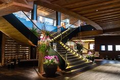 The Alpina Gstaad in Switzerland with its luxurious rooms and restaurants offers an Alpine hotel encounter of the superior kind! Stair Railing, Stairs, Railings, Alpine Hotel, Gstaad Switzerland, Hotels, Hotel Reviews, Design Awards, Entrance