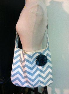 Izetta Jane Chevron Tote  Slate Blue by IzettaJane on Etsy, $38.00