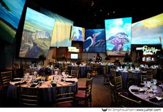 The Animation Studio in California Adventure as a wedding reception venue. Can you imagine the scenes from Disney movies looping endlessly all around you and the music and oh my gosh it's amazing.