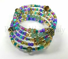 Purple and Blue Boho Style Beaded Coil by RandRsWristCandy on Etsy $10