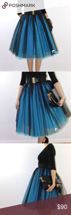 COMING SOON Ciara Black/Sky Blue Ombré Tulle Skirt This extra puffy tulle skirt is perfect for special occasions and is asking for high heels. Add matte or shiny ribbon sash or wide stretchy belt, and you are good to go! ⭐️Price Firm Unless Bundled⭐️  – 6