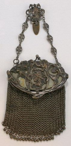 Antique French Silver 800 Chain Mail Mesh Lady S
