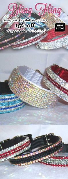 Bling collars made with genuine Swarovski Crystal rhinestones for cats and small dogs, large dogs and extra large dogs too.