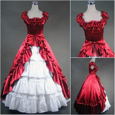 Custom Unique Red White Southern Belle Lolita Wedding Ball Gown Dress SKU-301034
