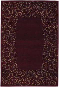 Accents Collection Chateau Garnet Burgundy Contemporary Tan Floral Border  Area Rug   Shaw Rugs | Rugs