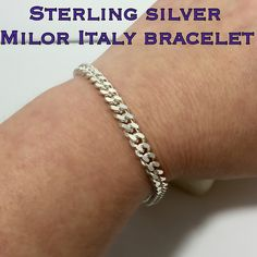 """Sterling Silver Milor Made In Italy Bracelet SZ 8"""" This is a Sterling Silver Made in Italy Milor Link Bracelet in Great Condition! Size 8"""" Long. This is a nice quality, heavier bracelet! Just cleaned it! It really shines!! Beautiful piece to add to your jewelry collection or to give as a gift! Great value for this piece!! Thanks for looking at my listing! I appreciate your interest! Have a blessed day!  Bundle and Save  I ship out same day as purchase  Don't hesitate to ask questions  Make…"""