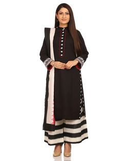 Shop Black Straight Cotton Suit Set online at Biba.in-SKD4792BLK
