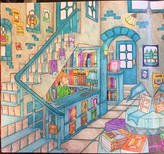 My Colorful Town By Chiaki Ida Left page: interior of library / bookstore Completed adult coloring book page done by colorist: Jax