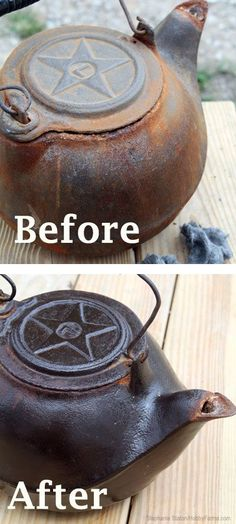 Learn how to clean cast iron and refurbish a rusty, old cast iron pot to a shimmering black, useable kitchen cookware.
