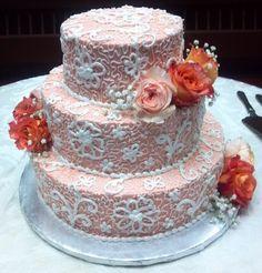Lace wedding cake, peach coral wedding cake