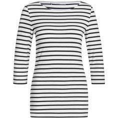 Oui Stripe T-Shirt, White/Black ($63) ❤ liked on Polyvore featuring tops, t-shirts, black and white stripe t shirt, black and white striped tee, black and white striped top, layering tees and pattern t shirt