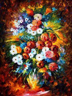 Leonid Afremov, oil on canvas, palette knife, buy original paintings, art, famous artist, biography, official page, online gallery, large artwork, fine, flowers