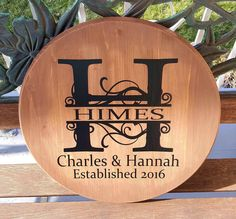 """15"""" Round Initial Family Established wood sign - Kelly Belly Boo-tique"""