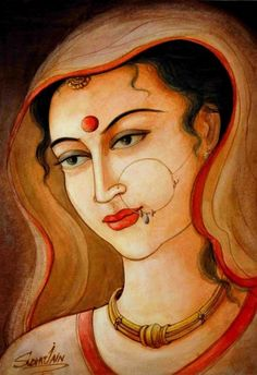female portrait by sudha sama Indian Art Gallery, Indian Artwork, Indian Art Paintings, Oil Paintings, Indian Drawing, Indian Women Painting, Black Paper Drawing, India Painting, Mother Art