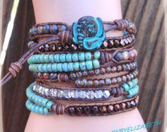 Elephant Leather Wrap Bracelet Made With by AZJEWELRYBYELIZABETH