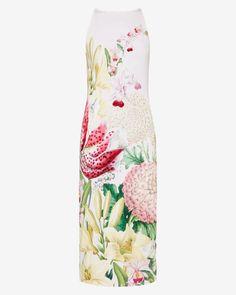 Encyclopaedia Floral midi dress - Nude Pink   Dresses   Ted Baker