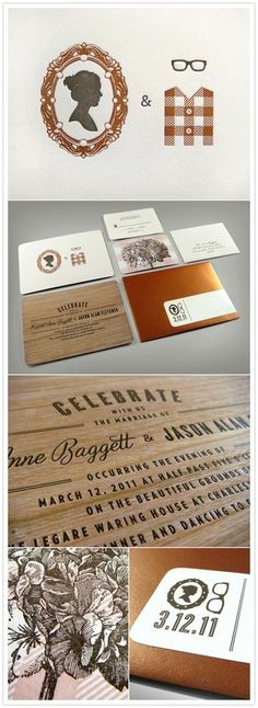 A fancy AND wooden invitation suite.