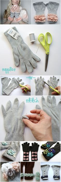 DIY Winter gloves embellishing/add ons-cute idea for the young girls to learn sewing and could add felt flowers and buttons