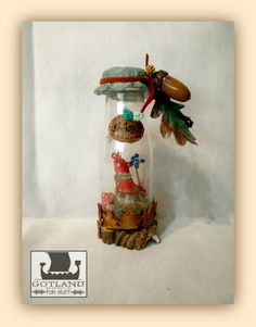 """""""Fantasía"""" Tiny gnome cottage in a bottle: All you can dream: a gnome house, flowers, mushrooms, pinecones and colourful snails on alive musk. Handmade, OOAK.  - #fairy_gardens - #fairies -  #jardín_de_hadas #gnome_houses  - #casas_de_duendes"""