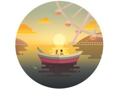 Sunset  in the boat by Liushui
