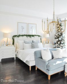 Beautiful Christmas bedroom decorated white blue