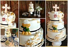 Gold and Ivory Leaves Communion Cake. OneSweetTreat.com
