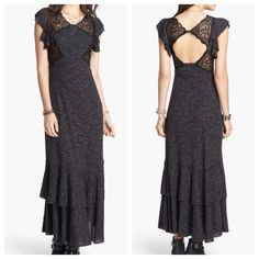 Free People Absolute Attraction Maxi Dress NWT Brand new Free People Absolute Attraction Maxi Dress with lace insets. It has a cross cross elastic around the front of the waist for definition and another elastic band around the back. It is a super soft gray and black jersey slub type fabric with flutter cap sleeves and a tiered bottom with rounded edges. It also has a partially open back. This is a gorgeous piece! Open to reasonable offers! No trades please. Free People Dresses Maxi
