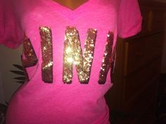 Victoria's Secret Love PINK BLING Short sleeve T shirt top GOLD BLING L-XL RARE #VictoriasSecret #GraphicTee
