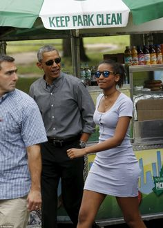 Family time! The president and 14-year-old Sasha looked in great spirits as they strolled in Central Park