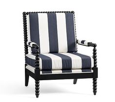 Sabine Spindle Armchair, Sunbrella Awning Stripe Navy/ Black Finish