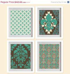 BIG SALE Fleur De Lis and Damask Art Prints  by MadeForYouPrints, $27.90