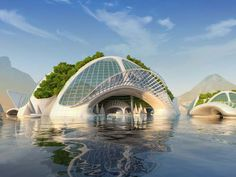 Belgian architect Vincent Callebaut developed plans for an amazing oceanic city built out of recycled rubbish. This futuristic building Floating Architecture, Concept Architecture, Futuristic Architecture, Sustainable Architecture, Architecture Design, Future City, Future House, Vincent Callebaut, Underwater City