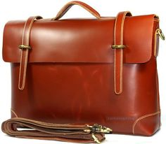 Men Slick Italian Leather Briefcases Shoulder Laptop Bag