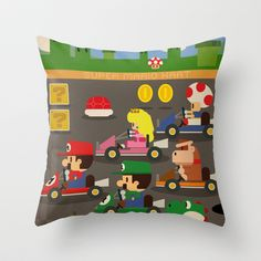 Mario Kart Throw Pillow by Danvinci - $20.00. Excellent, I can throw it at people who sick blue shells on me while we're playing. :)