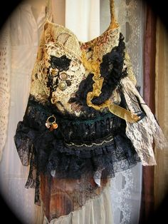 Gypsy Carpet Bag, soft and thick with earth tone fabric, black ruffled lace Handmade by Dede