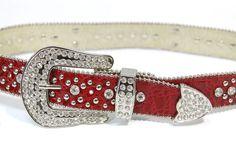 Western Cowgirl Fluer De Liz Rhinestone Silver Red Leather Belt SZ S/M NWT $125 #Acces